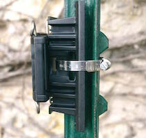 hose clamp on a T-post